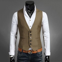 Herrdräkt Väst Bottonjacka Business Kort Slim Waistcoat Light brown 4XL