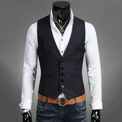 Herrdräkt Väst Bottonjacka Business Kort Slim Waistcoat Navy blue L