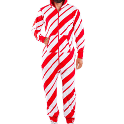 Herr Vinterjul Hooded Zip Jumpsuit Pyjamas Sovdräkt Stripe Red M