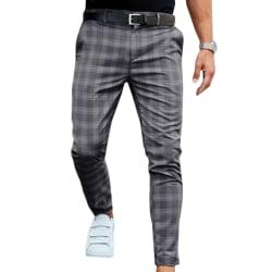 Herr rutiga byxor passar stretch stretch långa byxor för formellt arbete Dark Grey S