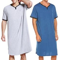 Herr Comfy Loose Nightwear Long Tops Kortärmad Pyjamas Blue 3XL