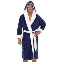 Mens morgonrockrock Badrock Vinter Mjuk varm sömnkläder Blue-White 5XL