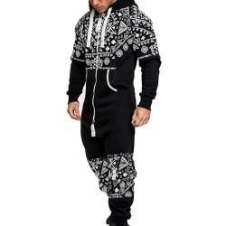 Mens Pyjamas Sweatshirt Hoodies Jumpsuit Loungewear Black 2XL