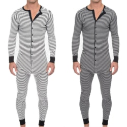 Mens randig långärmad jumpsuit pyjamas Romper Sleepwear Grey XL