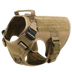 Militär hundväst taktisk hundsele med handtag Brown M