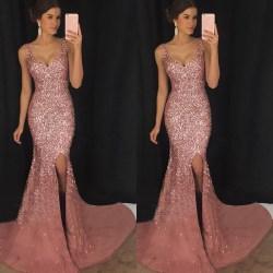 Party Deep V Sling Dress Slim Sequined Long Kjol för sexiga kvinnor Pink S