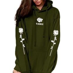 Plush Hooded Printed Tröja Casual Street för modekvinnor Green M