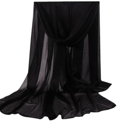 Ladies Chiffon Pure Color Silk Scarf Mjukt varmt temperament Black 165*85cm