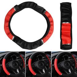 Säkerhet Halkfritt färgmatchande rattskydd Black-red