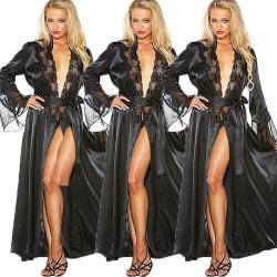 Förförisk Kvinnor Deep V Tie Sexig lång kjol Långärmad nattklänning Black 3XL