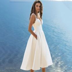 Sexig V-ringad hängslensklänning Vit Elegant för dammodell White S