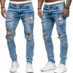 Slim Jeans Byxor Hip Hop Män Hål Casual Biker As Pics L
