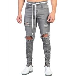 Snygg knähål dragkedja webbband jeans midja rem bälte för män Gray XL