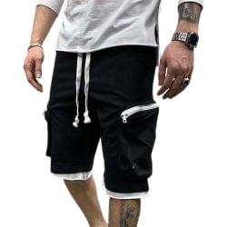 Snygg enfärgad sportfortshorts med flera fickor för män Black L