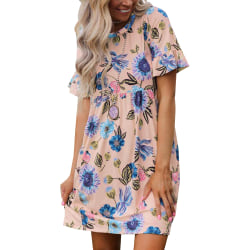 Summer Leisure Round Neck Floral Dress for Women Essential Pink S