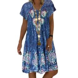 Sommar V-ringad kortärmad klänning elegant för kvinnor Deep blue M