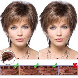 Syntetiskt kort naturligt våg hår peruk mix brun brown