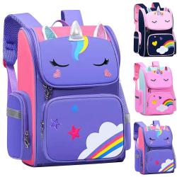Vattentäta barn skolväskor Cartoon 3D Unicorn ryggsäckar Royal Blue Large