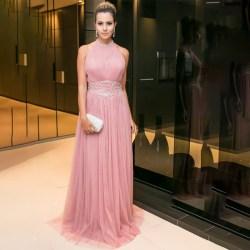 Bröllop brudtärna rund hals ärmlös smal klänning för kvinnor Pink XL