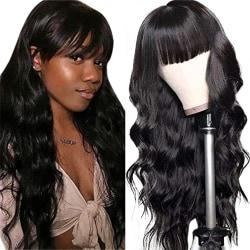 Kvinna svart lugg långt lockigt hår andas slät syntet Black