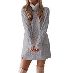 Kvinnor höst vinter turtleneck bas tröja ficka bärbar Gray XL