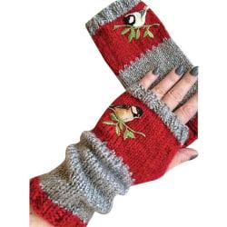 Kvinnor Bird Broderi Termiska handskar Stickad Fingerless Warmer Red
