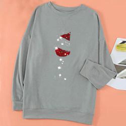 Kvinnor jul Casual Baggy Tee Toppar Xmas lösa T-shirts blus Grey S