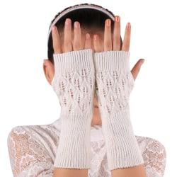 Women Ladies Warm Winter Hand Arm Warmer Knitted Gloves Mittens White