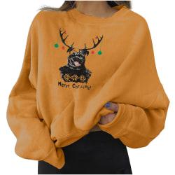 Kvinnor långärmad jultröja Casual tryckta tröjor Yellow 2XL