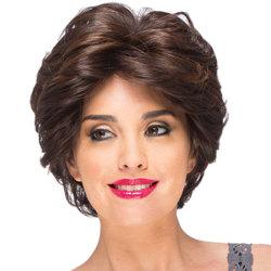 Kvinnlig mittpunkt lockigt hår peruk Hooded elastiskt skyddbart mode Black-brown