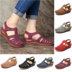 Kvinnor ortopediska platta sandaler Wedge Comfy Summer Beach Black 39