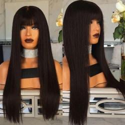 Kvinnors naturliga svarta långa raka hårperuk