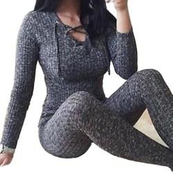 Kvinnors Slim Slimming Thermal Tights Jumpsuit Base coat Winter Gray M