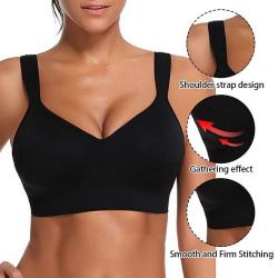 Enfärgad bh för kvinnor med enfärgad andning, sexig sportunderkläder Black 2XL