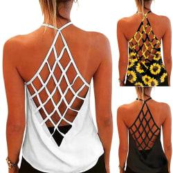 Sommarstrandhals för kvinnor ärmlös mode All-match White S