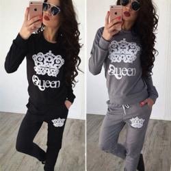 Träningsdräkt för kvinnor Sweatshirt Sportwear Jogging Lounge Sets Black S