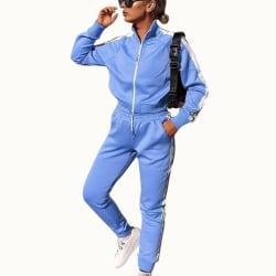 Kvinnor Träningsoveraller Set Plain Tops Byxor Gym Sport Loungewear Blue S