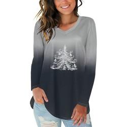 Kvinnor Xmas Tree tryckt varm jul långärmad tröja toppar Black S