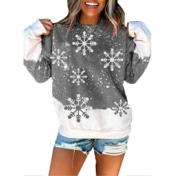Womens Christmas Snowflake Xmas Casual Pullover Tops Grey S