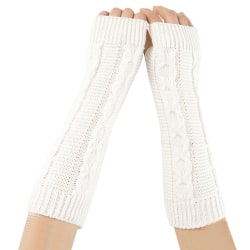 Kvinnors Fingerless Long Arm Handvärmare Vinterhandskar Ärmar White