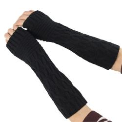 Kvinnors elastiska halvfingerhandskar Långa handvärmevantar Black