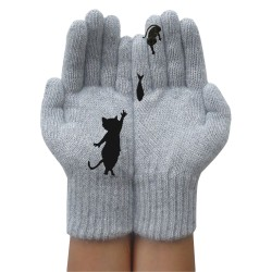 Womens Winter Warm Wool Knitted Gloves Cat Full Finger Mittens Grey