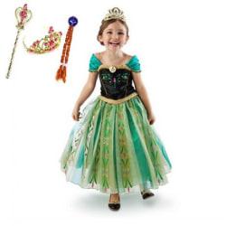 Anna princess klänning + tiara/fläta/spö 140 cl