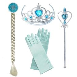 Elsa prinsess - set fläta, tiara, stav & ett par handskar