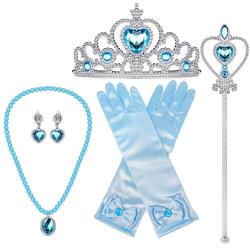 Elsa prinsess-set tiara, stav, handskar, halsband och örhängen