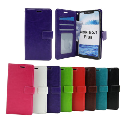 Crazy Horse Wallet Nokia 5.1 Plus Svart