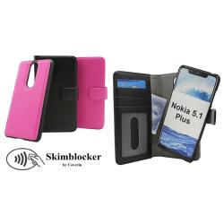 Skimblocker Magnet Wallet Nokia 5.1 Plus Hotpink