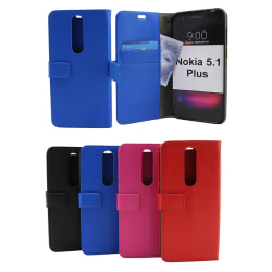 Standcase Wallet Nokia 5.1 Plus Hotpink