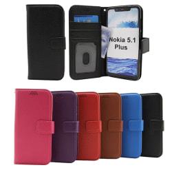 Standcase Wallet Nokia 5.1 Plus Blå