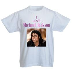 Barn T-shirt - I love Michael Jackson  4 Rosa 128cl 7-8år